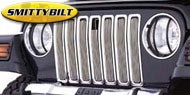 Smittybilt Billet Grille with Chrome Insert Trim <br>97-06 Jeep Wrangler TJ