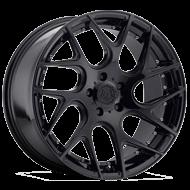 TIS 542B Gloss Black with Chrome Rivets Wheels