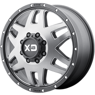 KMC XD130 Machete Dually Matte Gray w/ Black Ring Wheels
