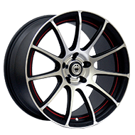 Konig Wheels <br />Zero-In Machined/Matte Black with Red Racing Stripe
