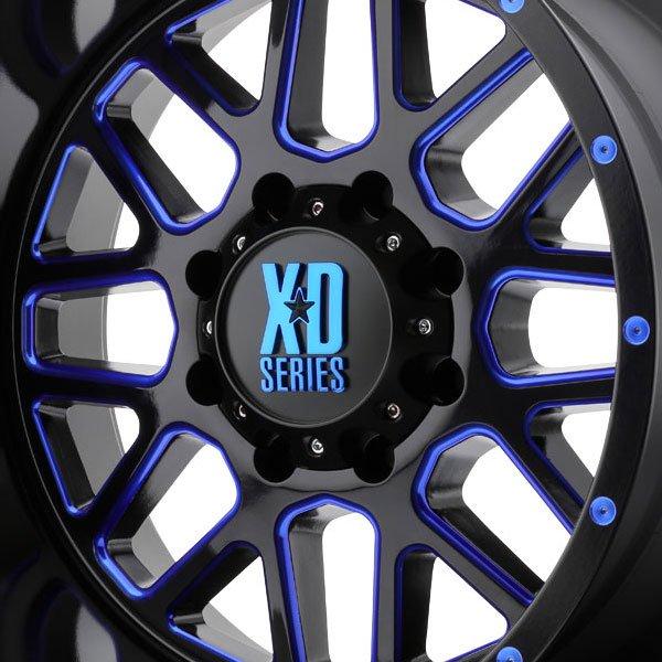 KMC XD820 Grenade Satin Black Milled Wheels Blue Accent ...