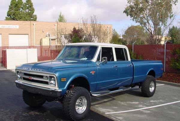 old Chevy quad cab truck blue