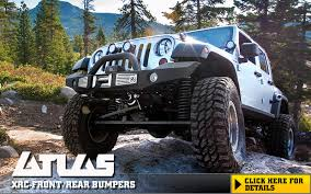 The new Smittybilt Atlas on the jeep wrangler parked on a rock