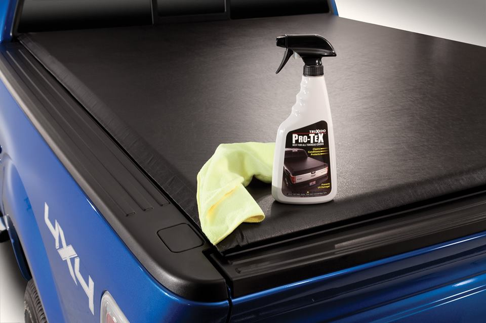 black tonneau cover with cleaning prouct