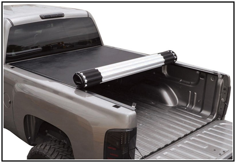 Grey truck covered with a soft tonneau cover