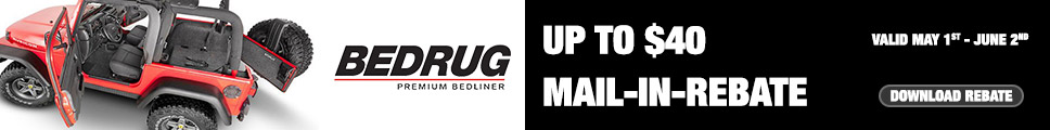 Get up to $40 mail-in-rebate on BedRug Jeep kits! Click here to download rebate form.