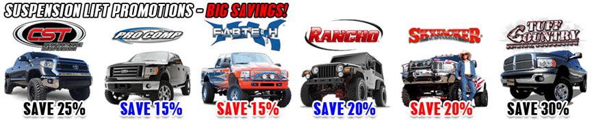 Lift Kit Brands >> Suspension Lift Kit Promotions On Sale 4wheelonline Com