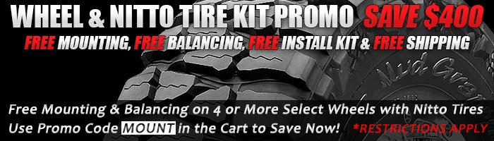 Get free mounting and balancing on 4 or more select wheels with Nitto Tires when you use promo code MOUNT!