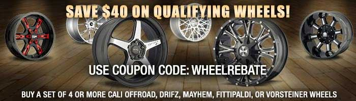 Shop Now to get $40 Cash Back on a set of four or more qualifying wheels with coupon code WHEELREBATE