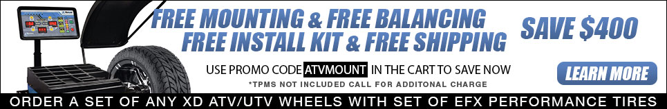 Buy a set of 4 XD Wheels with a set of 4 EFX Tires and we'll balance them and include a lug kit for free and ship them to you for free!