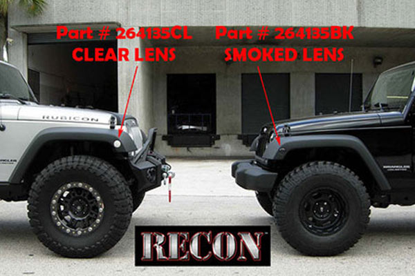 Recon Round Front Fender Lenses With Amber Led S Smoked