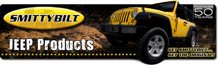 smittybilt jeep products, complete line of jeep accessories, smittybilt bumper, smittybilt jeep top, smittybilt gear, smittybilt winches, smittybilt extreme trail gear