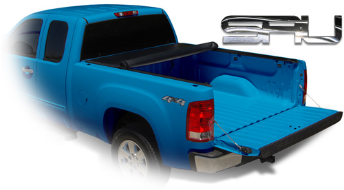Blue chevy with roll up cover