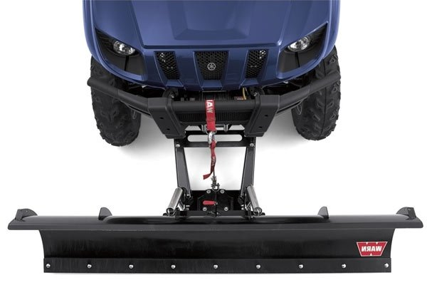 warn utv plow mounts are front mounted instead of center mounted, negating  the need to crawl under the side x side and uses the 'rapid connection  system'