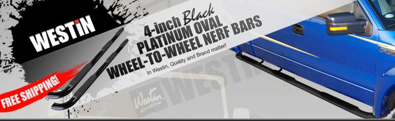 Westin 4 Inch Oval Wheel-to-Wheel Step Bars Black