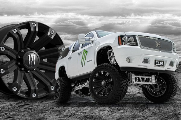 Monster Wheel with a white truck