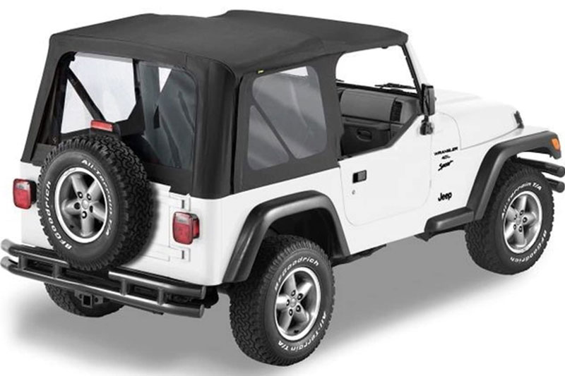 Bestop Sailcloth Soft Top Replace A Top 97 02 Jeep Wrangler TJ With Clear  Windows | 4WheelOnline.com